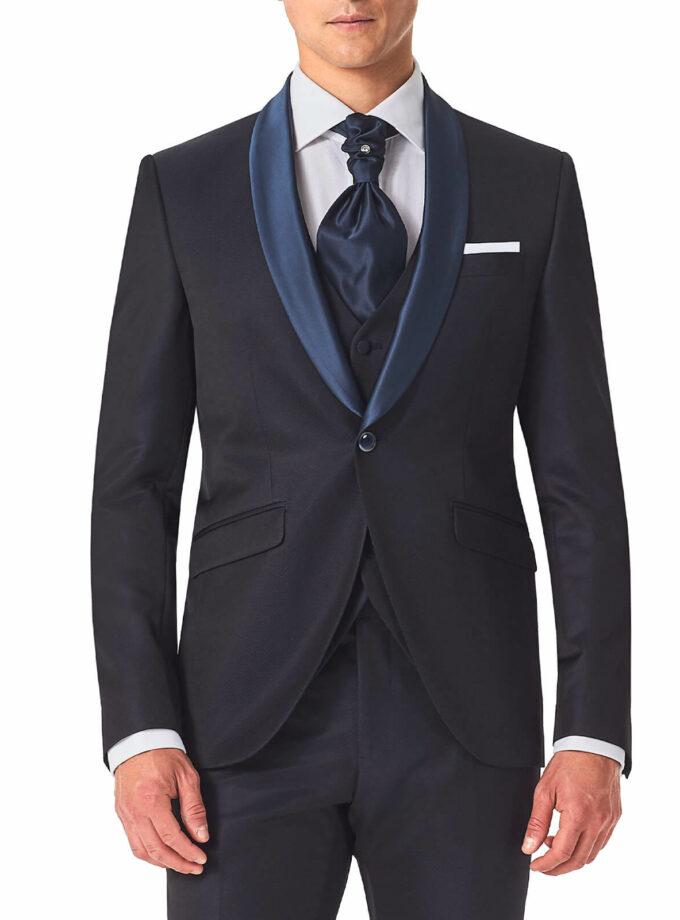 abito blu rever sciallato cerimonia versali 2022