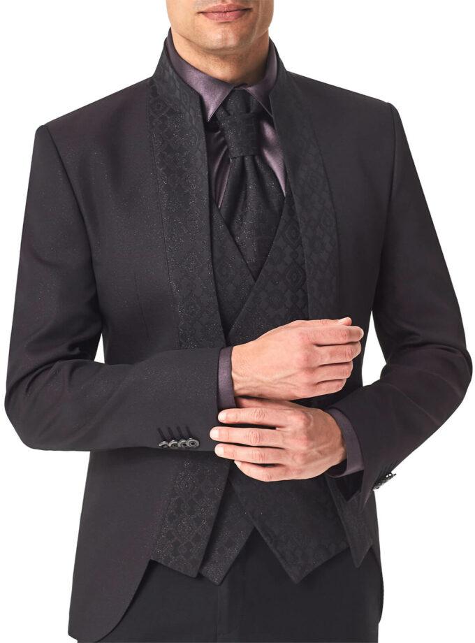 abito cerimonia uomo con profili in lurex bordeaux