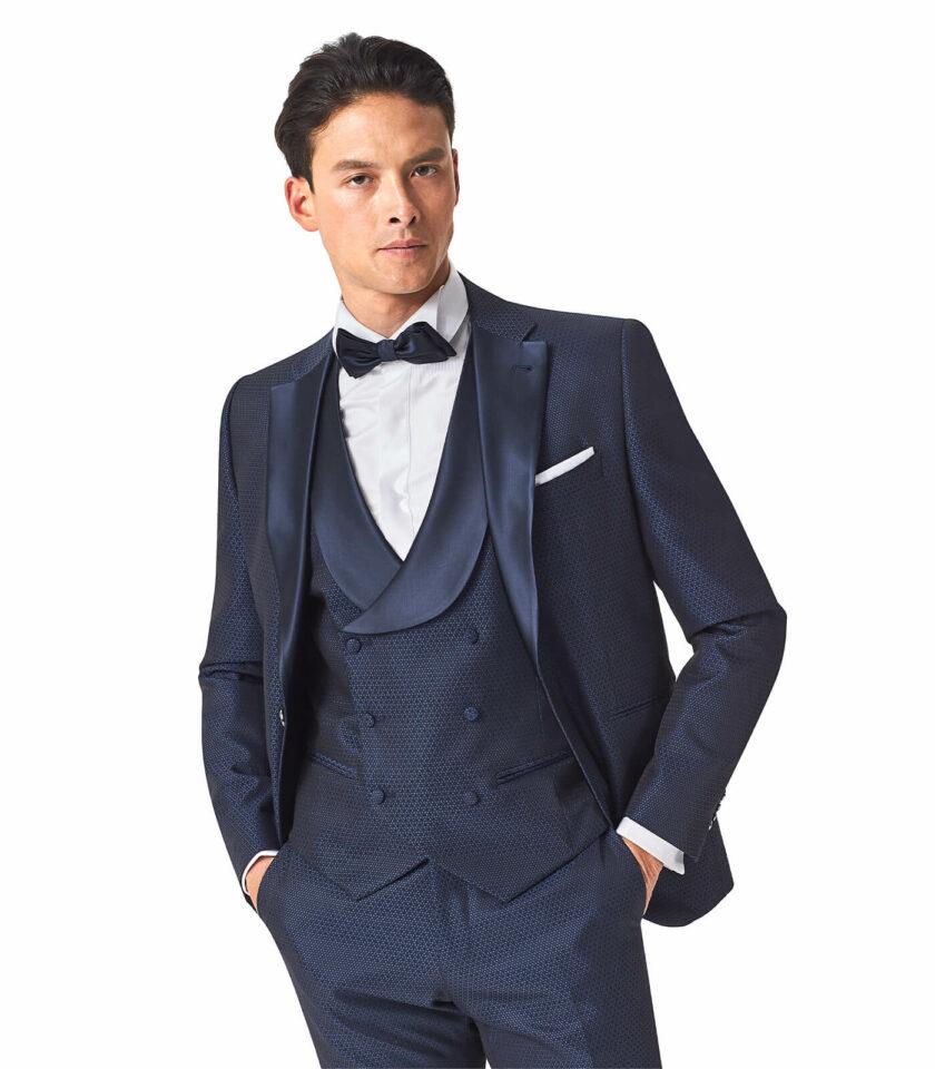giacca uomo blu micro fantasia cerimonia Andrea Versali