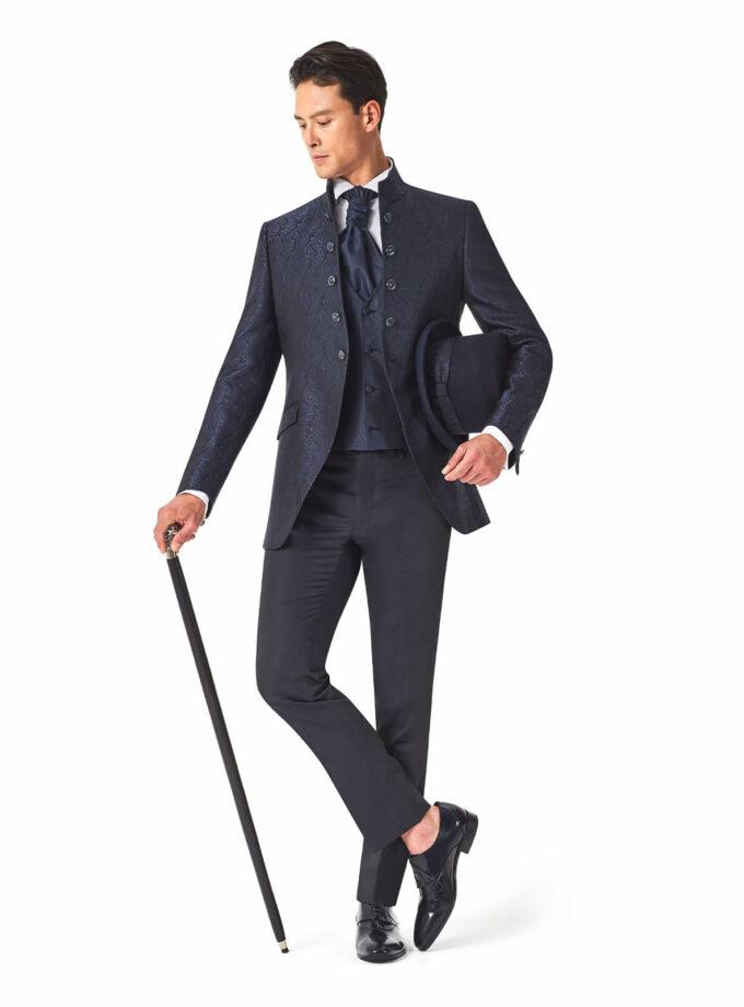 abito lungo uomo damascato con gilet