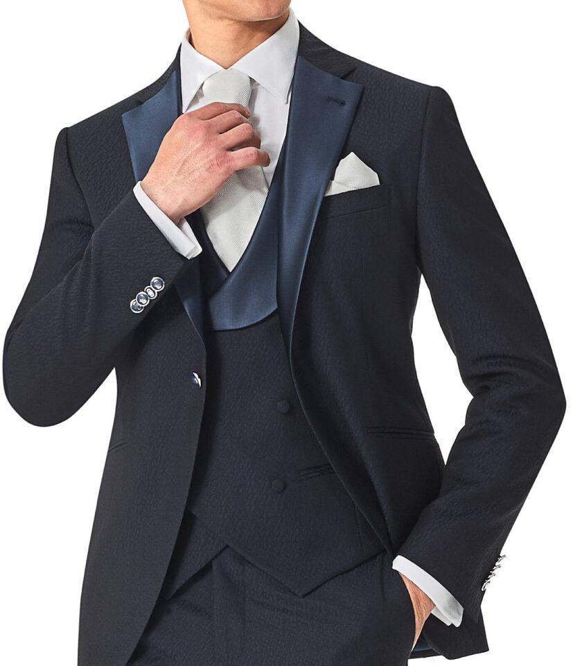 giacca blu uomo elegante con gilet doppio petto rever a lancia cerimonia