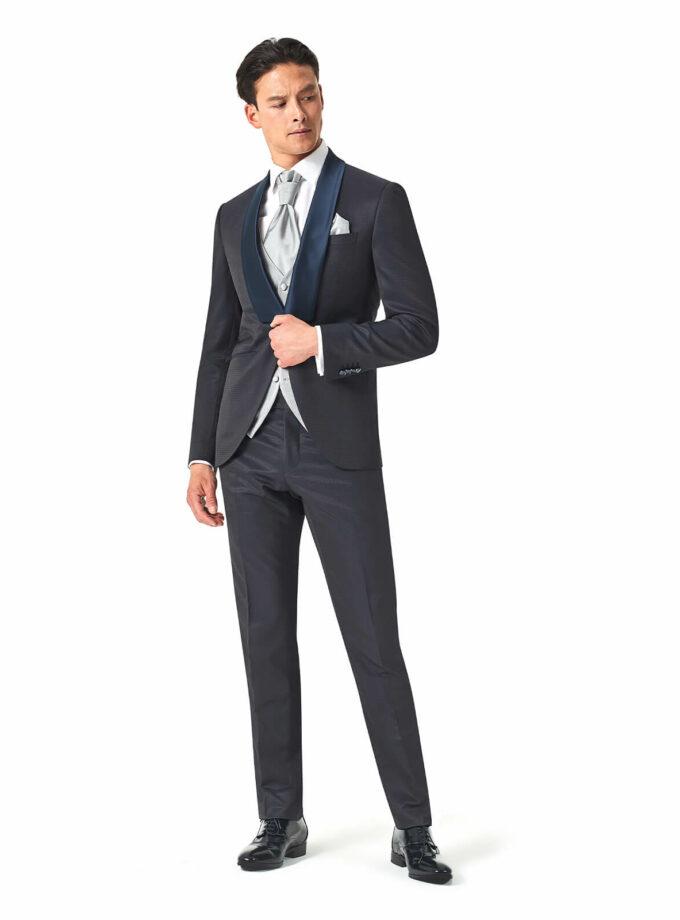 abito uomo blu con rever sciallato in raso cerimonia 2022 versali