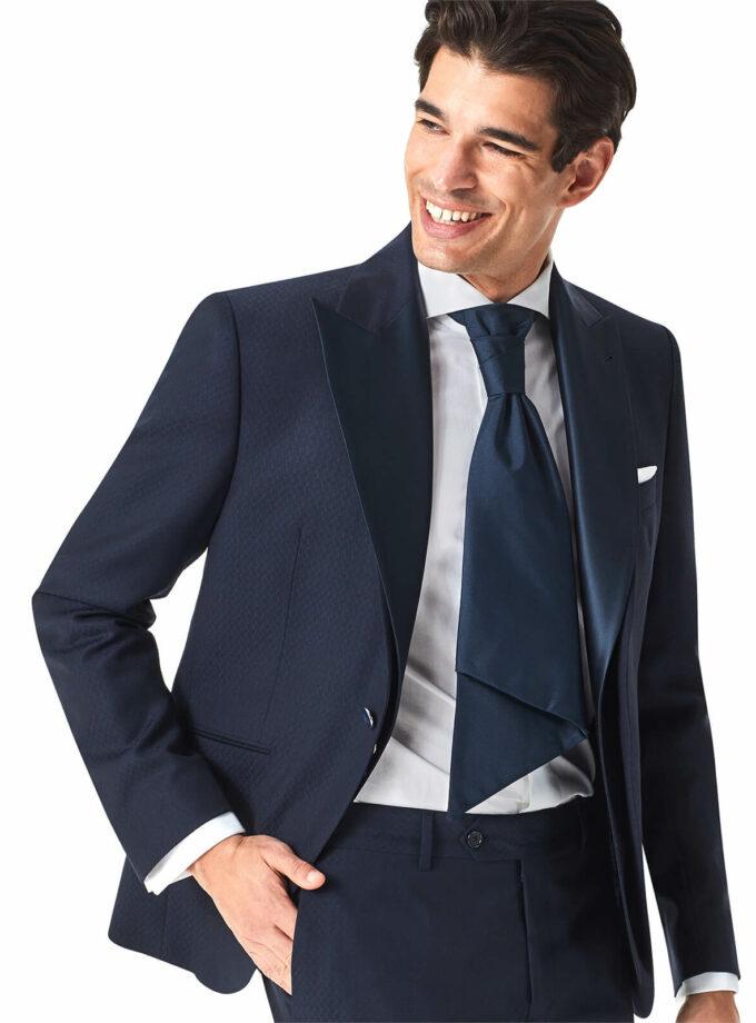 abito uomo blu doppio collo rever a lancia raso