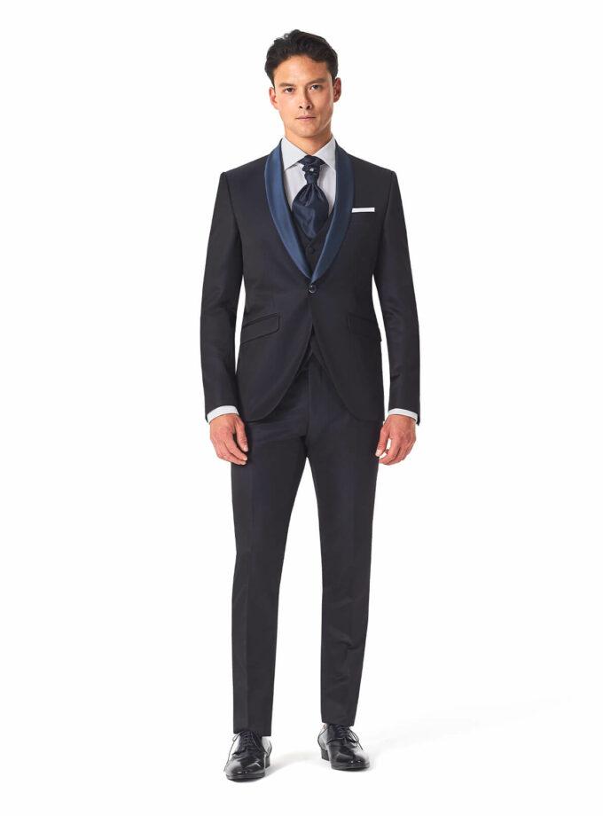 abito uomo blu rever sciallato elegante con gilet in tinta cerimonia sposo 2022