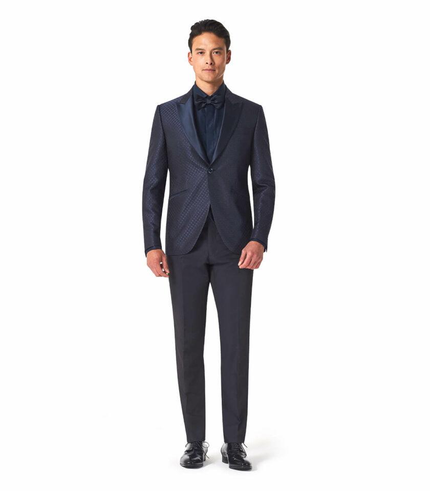 abito uomo blu scuro rever a lancia in raso sposo 2022 cerimonia made in italy