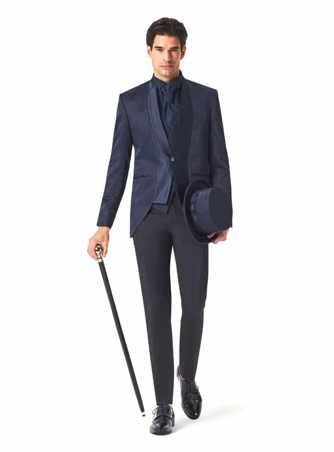 abito uomo elegante in lurex con cilindro e bastone