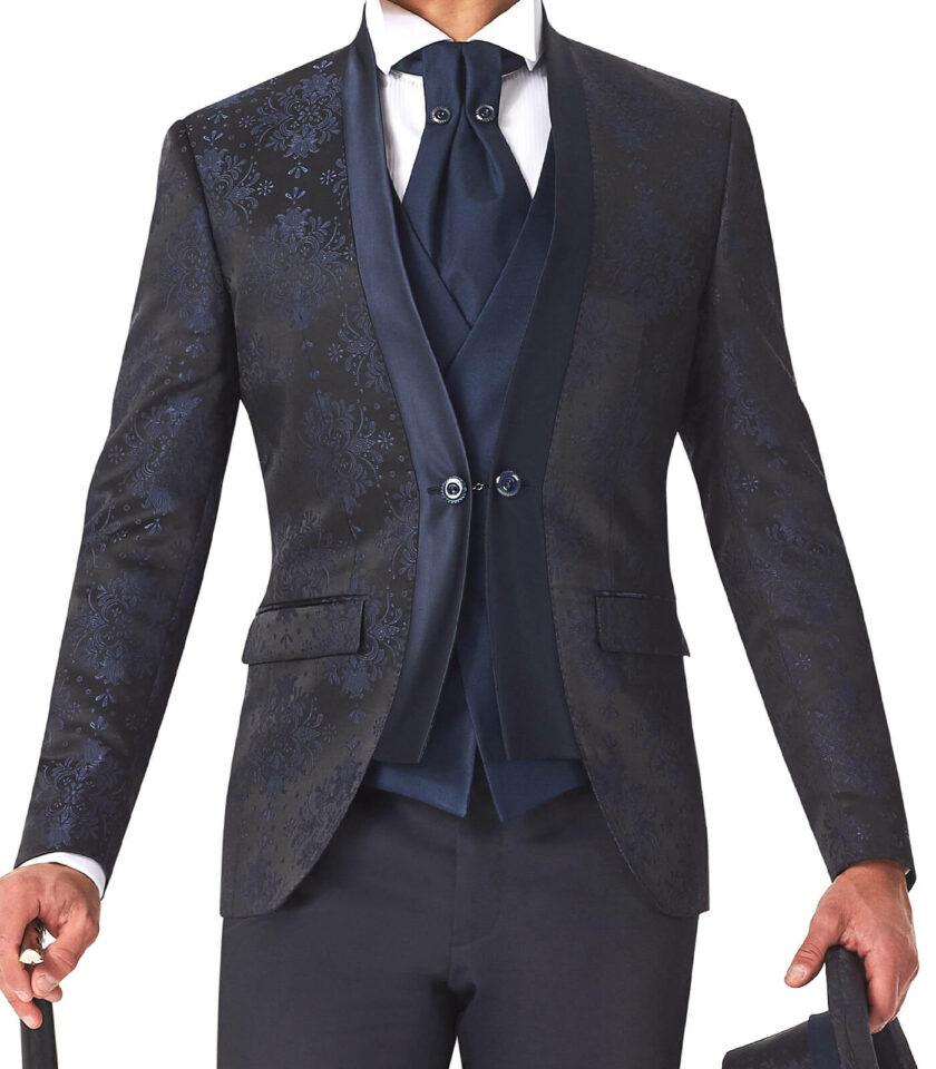 abito blu uomo con profili in raso e bottone gemello
