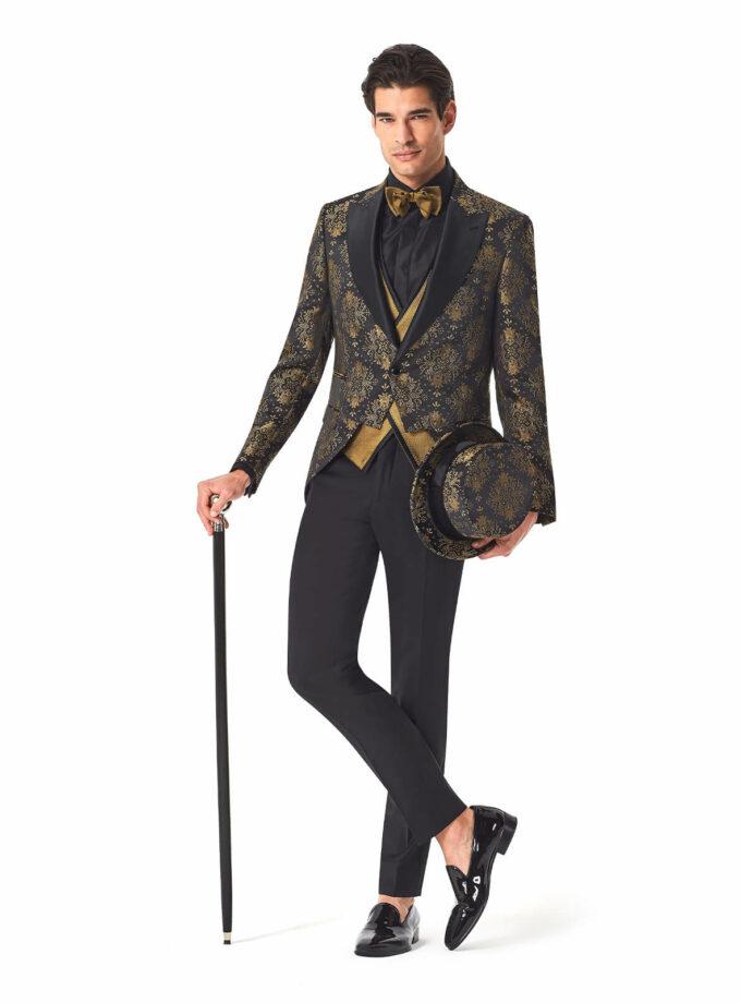 abito uomo damascato oro sposo 2022 con gilet doppio petto oro