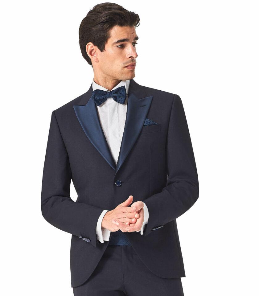 abito uomo elegante cerimonia uomo sposo 2022 rever raso blu