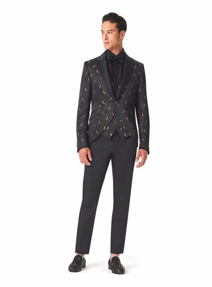 abito uomo nero con fantasia chili