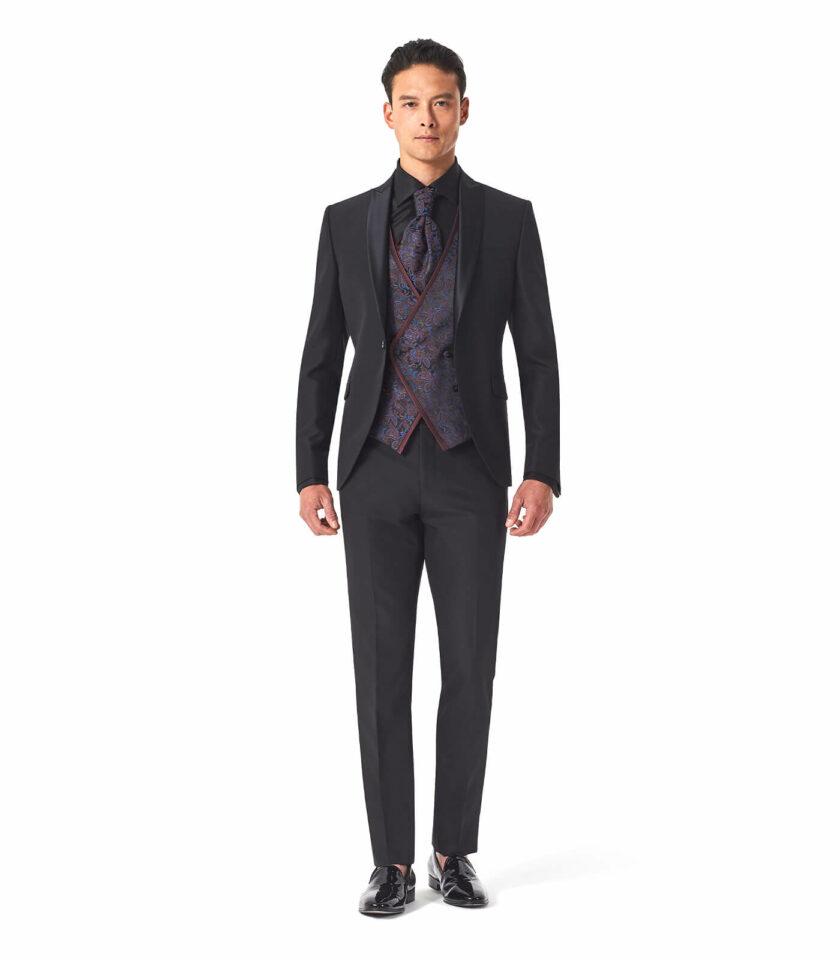 abito uomo nero total look versali