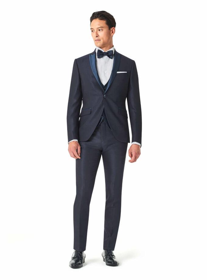abito uomo elegante blu con papillon sposo Andrea Versali