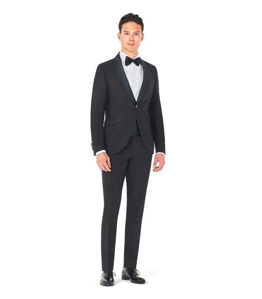 abito uomo smoking nero sposo cerimonia 2022 con fascia e papillon andrea versali