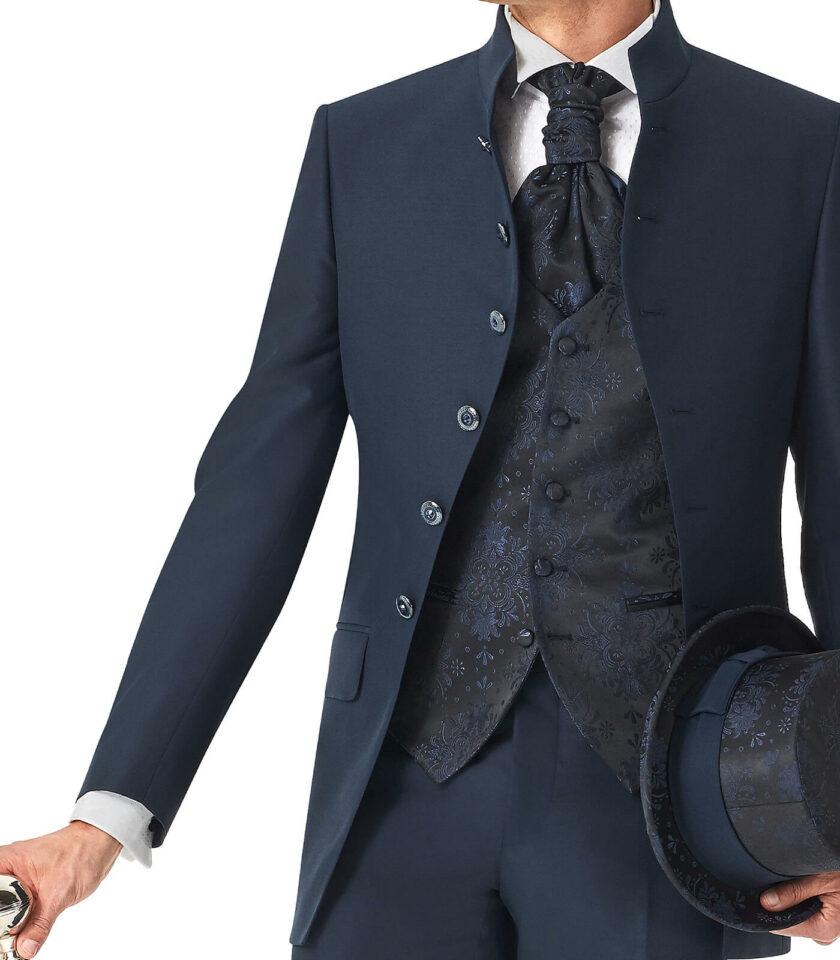 dettagli abito blu cerimonia uomo 2022 con gilet damascato