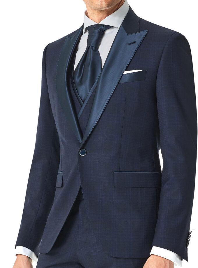 giacca principe di galles rever a lancia raso blu cerimonia uomo 2022