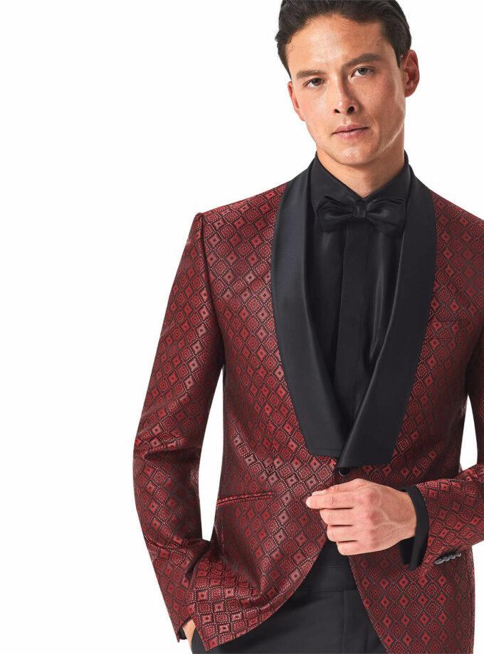 giacca rossa fantasia rever sciallato nero