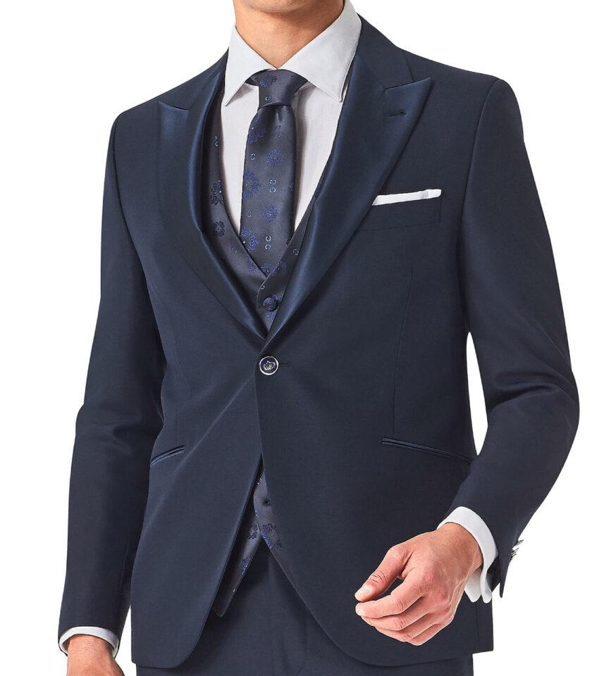 giacca rever a lancia blu cerimonia uomo