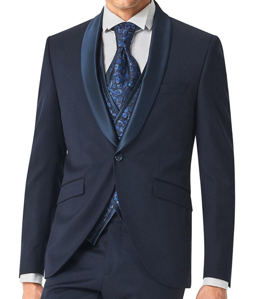 giacca uomo andrea versali 2022 blu con rever in raso sciallato