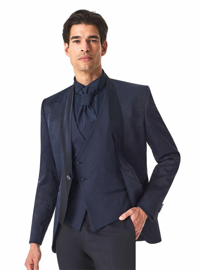 giacca uomo blu con profili in raso e tessuto lurex