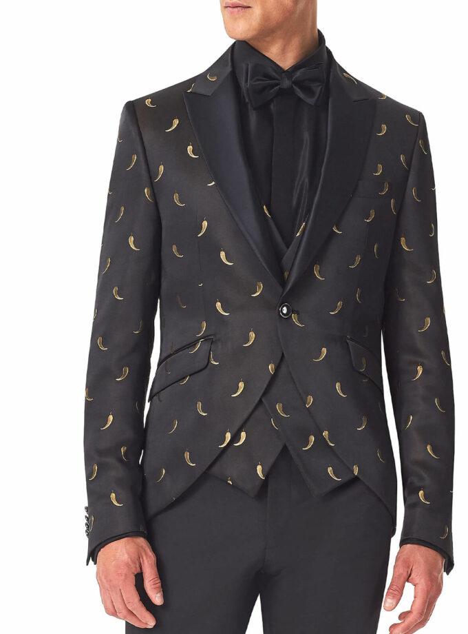 giacca uomo con fantasia peperoncino oro