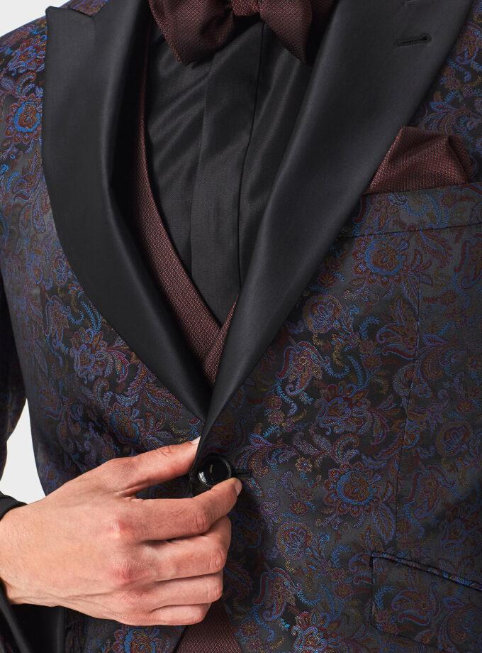 giacca uomo fantasia rever a lancia raso nero