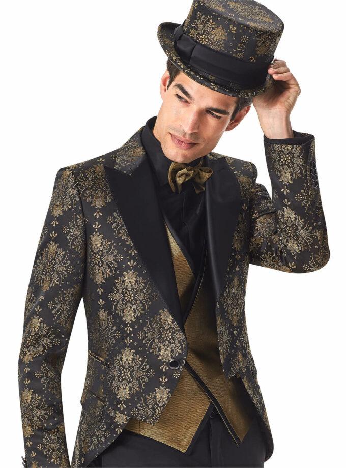 giacca uomo oro fantasia damascata cerimonia