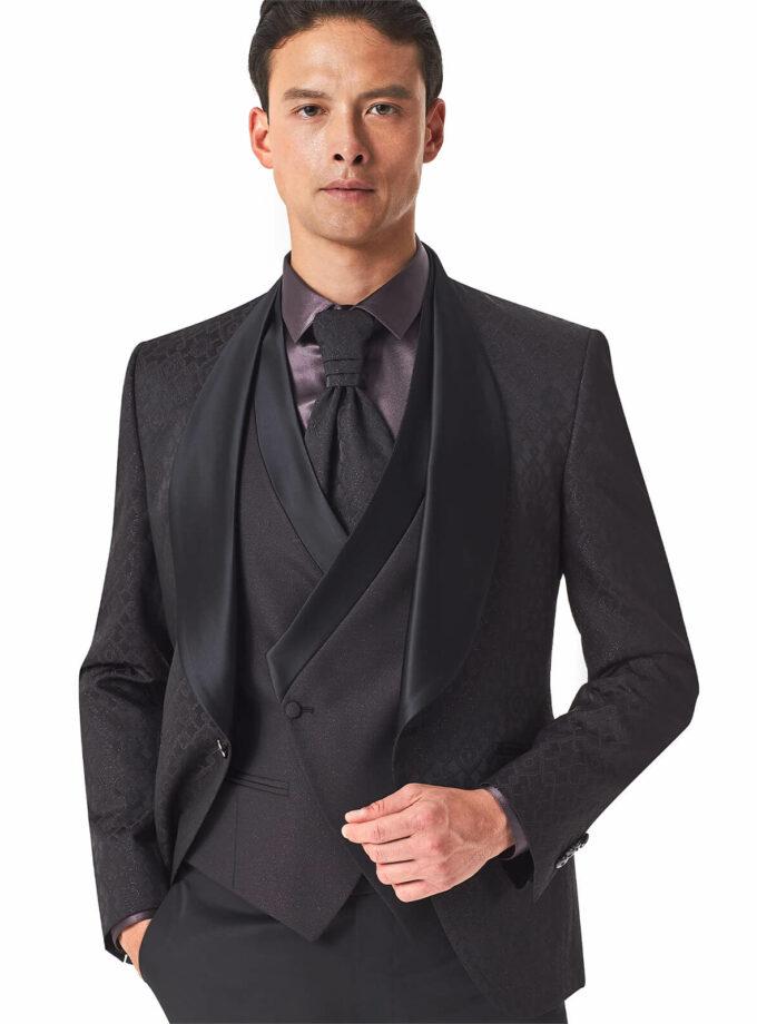giacca uomo bordeaux con ampio rever sciallato