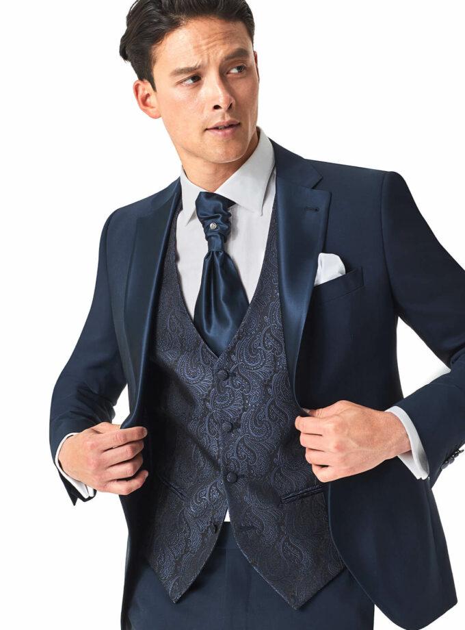 giacca uomo cerimonia con gilet damascato blu