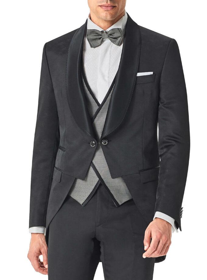 tight uomo nero con rever sciallato e bottoni gemelli cerimonia