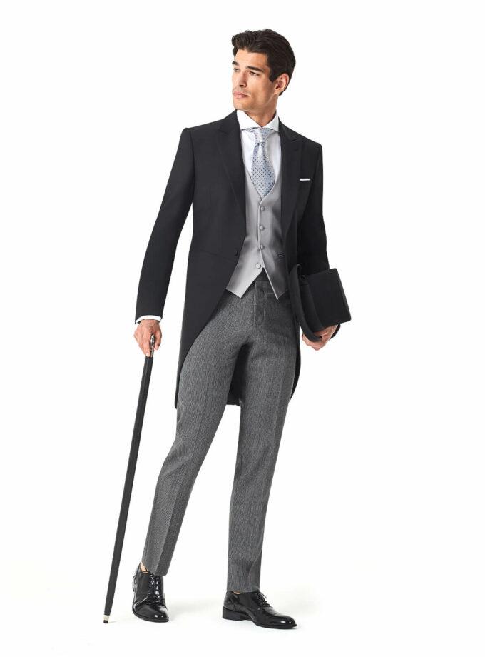 tight uomo sposo 2022 made in italy nero con pantalone rigato grigio alta sartoria martina franca