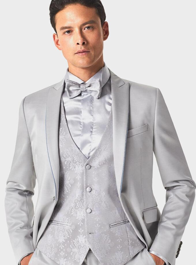 abito grigio uomo con gilet damascato matrimonio in spiaggia beach wedding