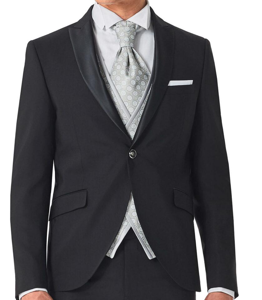giacca nera uomo con gilet doppio petto fantasia cerimonia