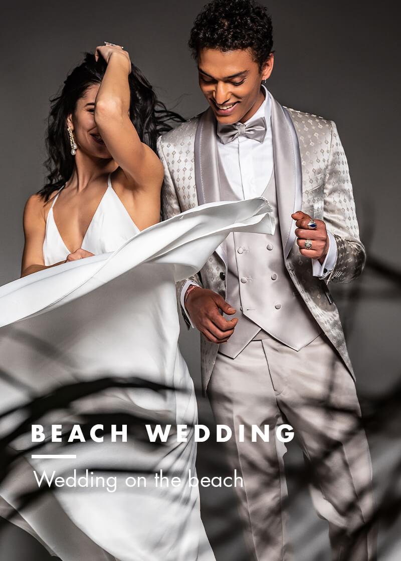 wedding on the beach - beach wedding versali suits